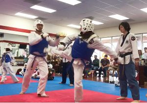 Taekwondo Mum or Taekwondo Mom Sylvia jumps into sparring